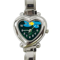 Whimsical Blue Flower Green Sexy Heart Italian Charm Watch by Mariart