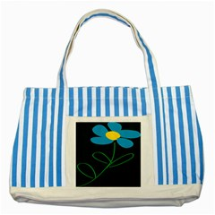 Whimsical Blue Flower Green Sexy Striped Blue Tote Bag by Mariart