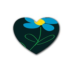 Whimsical Blue Flower Green Sexy Rubber Coaster (heart)  by Mariart