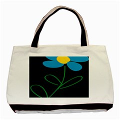 Whimsical Blue Flower Green Sexy Basic Tote Bag (two Sides) by Mariart