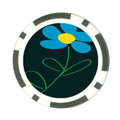 Whimsical Blue Flower Green Sexy Poker Chip Card Guard by Mariart
