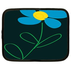 Whimsical Blue Flower Green Sexy Netbook Case (xxl)  by Mariart