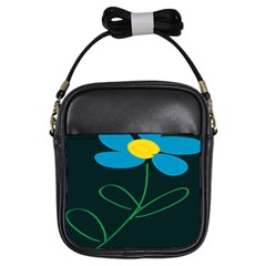 Whimsical Blue Flower Green Sexy Girls Sling Bags by Mariart