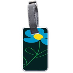 Whimsical Blue Flower Green Sexy Luggage Tags (two Sides) by Mariart