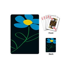 Whimsical Blue Flower Green Sexy Playing Cards (mini)  by Mariart