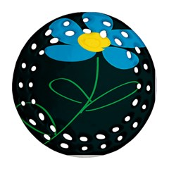 Whimsical Blue Flower Green Sexy Ornament (round Filigree) by Mariart