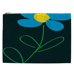 Whimsical Blue Flower Green Sexy Cosmetic Bag (xxl)  by Mariart