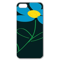 Whimsical Blue Flower Green Sexy Apple Seamless Iphone 5 Case (clear) by Mariart