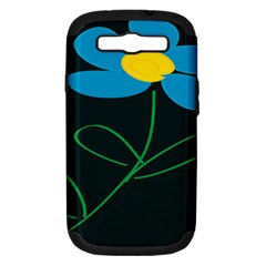 Whimsical Blue Flower Green Sexy Samsung Galaxy S Iii Hardshell Case (pc+silicone) by Mariart