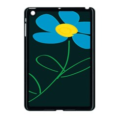 Whimsical Blue Flower Green Sexy Apple Ipad Mini Case (black) by Mariart