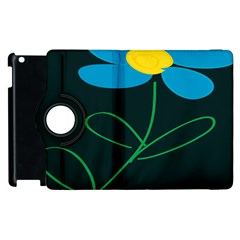 Whimsical Blue Flower Green Sexy Apple Ipad 3/4 Flip 360 Case