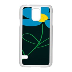 Whimsical Blue Flower Green Sexy Samsung Galaxy S5 Case (white) by Mariart
