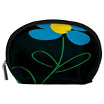 Whimsical Blue Flower Green Sexy Accessory Pouches (Large)  Front