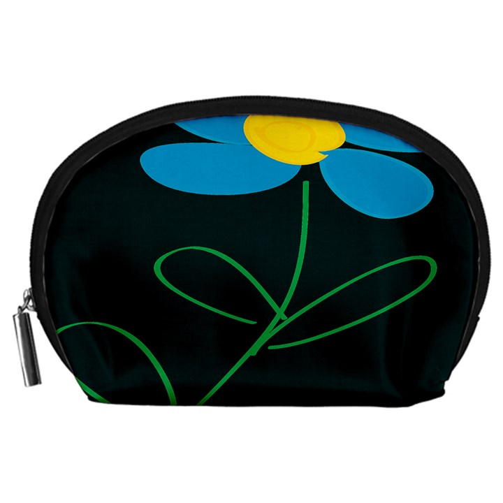 Whimsical Blue Flower Green Sexy Accessory Pouches (Large)