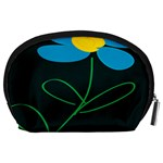 Whimsical Blue Flower Green Sexy Accessory Pouches (Large)  Back
