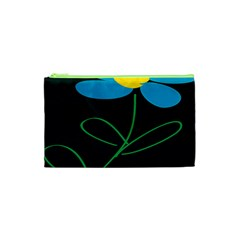 Whimsical Blue Flower Green Sexy Cosmetic Bag (xs) by Mariart