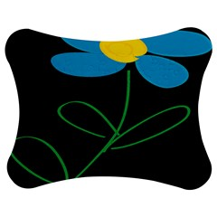 Whimsical Blue Flower Green Sexy Jigsaw Puzzle Photo Stand (bow) by Mariart