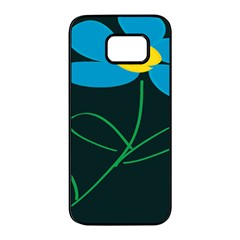 Whimsical Blue Flower Green Sexy Samsung Galaxy S7 Edge Black Seamless Case by Mariart