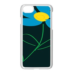 Whimsical Blue Flower Green Sexy Apple Iphone 7 Seamless Case (white) by Mariart
