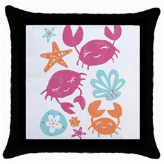 Animals Sea Flower Tropical Crab Throw Pillow Case (black) by Mariart