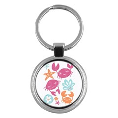 Animals Sea Flower Tropical Crab Key Chains (round)  by Mariart