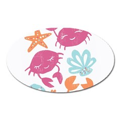 Animals Sea Flower Tropical Crab Oval Magnet by Mariart