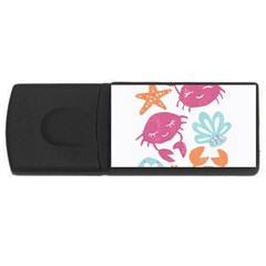 Animals Sea Flower Tropical Crab Rectangular Usb Flash Drive by Mariart