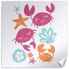 Animals Sea Flower Tropical Crab Canvas 12  X 12   by Mariart