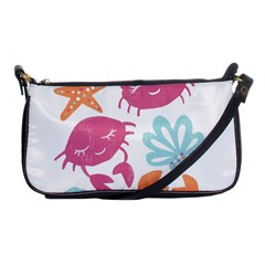 Animals Sea Flower Tropical Crab Shoulder Clutch Bags by Mariart