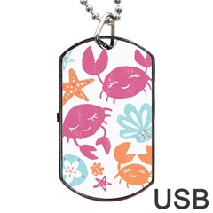 Animals Sea Flower Tropical Crab Dog Tag Usb Flash (two Sides) by Mariart