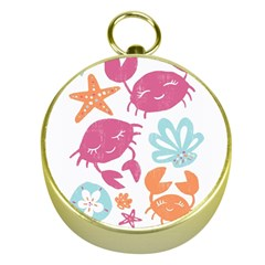 Animals Sea Flower Tropical Crab Gold Compasses by Mariart