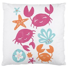 Animals Sea Flower Tropical Crab Large Flano Cushion Case (two Sides) by Mariart