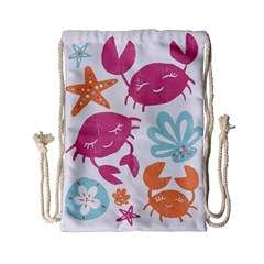 Animals Sea Flower Tropical Crab Drawstring Bag (small) by Mariart