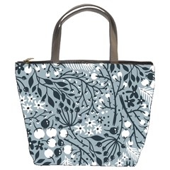 Abstract Floral Pattern Grey Bucket Bags by Mariart