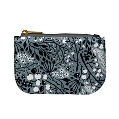 Abstract Floral Pattern Grey Mini Coin Purses