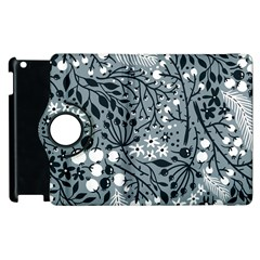 Abstract Floral Pattern Grey Apple Ipad 3/4 Flip 360 Case by Mariart