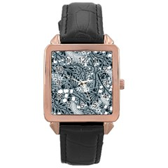 Abstract Floral Pattern Grey Rose Gold Leather Watch  by Mariart