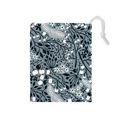 Abstract Floral Pattern Grey Drawstring Pouches (medium)  by Mariart