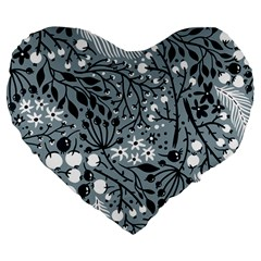 Abstract Floral Pattern Grey Large 19  Premium Flano Heart Shape Cushions by Mariart