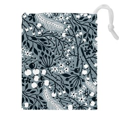 Abstract Floral Pattern Grey Drawstring Pouches (xxl) by Mariart