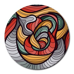 Beautiful Pattern Background Wave Chevron Waves Line Rainbow Art Round Mousepads by Mariart