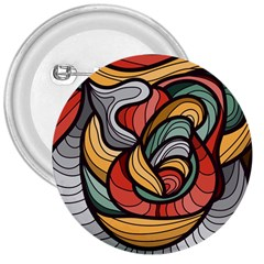 Beautiful Pattern Background Wave Chevron Waves Line Rainbow Art 3  Buttons by Mariart
