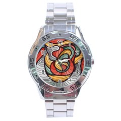 Beautiful Pattern Background Wave Chevron Waves Line Rainbow Art Stainless Steel Analogue Watch by Mariart