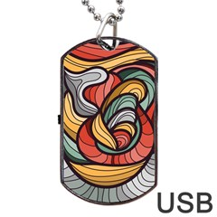Beautiful Pattern Background Wave Chevron Waves Line Rainbow Art Dog Tag Usb Flash (two Sides) by Mariart