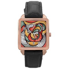 Beautiful Pattern Background Wave Chevron Waves Line Rainbow Art Rose Gold Leather Watch  by Mariart