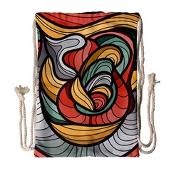 Beautiful Pattern Background Wave Chevron Waves Line Rainbow Art Drawstring Bag (large) by Mariart
