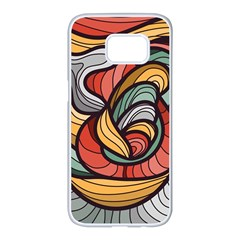 Beautiful Pattern Background Wave Chevron Waves Line Rainbow Art Samsung Galaxy S7 Edge White Seamless Case by Mariart