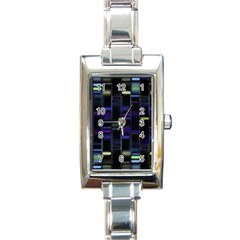 Biostatistics Line Blue Rectangle Italian Charm Watch by Mariart