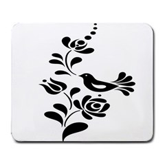 Birds Flower Rose Black Animals Large Mousepads by Mariart