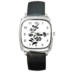 Birds Flower Rose Black Animals Square Metal Watch by Mariart